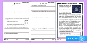 British Science Week 2017 Differentiated Comprehension Go Respond Worksheet / Activity Sheets - science week, science, reading comp, reading comprehension, go respond, interactive, reading test, s