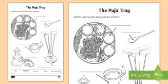 The Puja Tray Worksheet / Activity Sheet - hinduism, hindu, worship, shrine, worksheet, divali, diva, diya