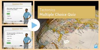 Tectonics Quiz 1 PowerPoint - The Challenge of Natural Hazards AQA GCSE