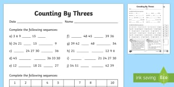 Counting By 3s Activity Sheet - Australia Maths, Skip Counting, Number and Algebra, Australia, counting, 3s