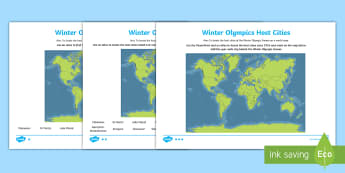 KS2 Winter Olympics Host Cities Location Differentiated Activity Sheet - Y3, Y4, Y5, Y6, map, Atlas, worksheet