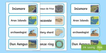 Dun Aengus Word Cards - ROI - Dún Aonghusa, bronze age, fort, dun aengus, aran islands, inishmore, galway,Irish