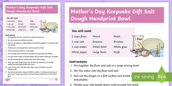 Mother's Day Keepsake Gift - Salt Dough Handprint Activity - Sunday, Mothering, Celebrate, Thanks, Present, Scottish, scotland, mummies, present, gift, art, craf