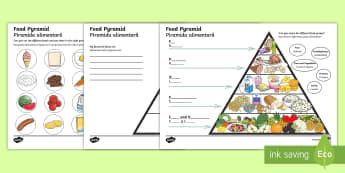 Food Writing Pyramid Activity English/Romanian - food groups, literacy, writing, food activity, lieracy, litercay, writting, EAL