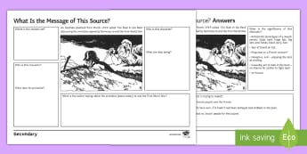 Weimar Germany: First World War 'Stab in the Back' Source Analysis Worksheet / Activity Sheet - history, ks4, first world war, armistice, treaty versailles, german army, Antisemitism, stab in the