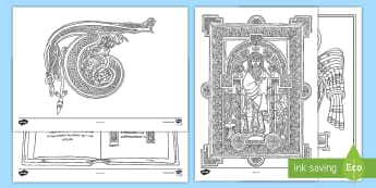 The Book of Kells Colouring Pages - early christian ireland, monastic, monastery, history, monks, book of kells,Irish
