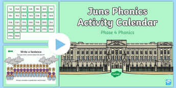 Phase 4 June Phonics Activity Calendar PowerPoint - royal, Queen's birthday, monthly, reading, spelling, sorting, tricky words, letters and sounds, ac