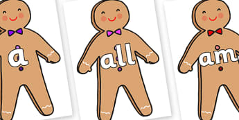 Foundation Stage 2 Keywords on Gingerbread Man - FS2, CLL, keywords, Communication language and literacy,  Display, Key words, high frequency words, foundation stage literacy, DfES Letters and Sounds, Letters and Sounds, spelling