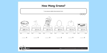 How Many Grams Activity Sheet - Measurement, grams, kilograms, weight, weigh, measure, year 1, worksheet