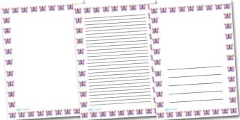 Pink Butterfly Portrait Page Borders- Portrait Page Borders - Page border, border, writing template, writing aid, writing frame, a4 border, template, templates, landscape