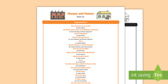 Houses and Homes Book List - EYFS Houses and Homes, my environment, reading, books, fiction, non-fiction