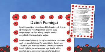 Plakat informacyjny Dzień Pamięci po polsku - szkoła , Polish