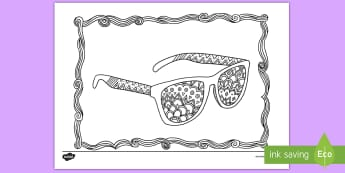 Sunglasses Themed Mindfulness Coloring Activity Sheet - sunglasses, color, coloring, sun protection, art, worksheet