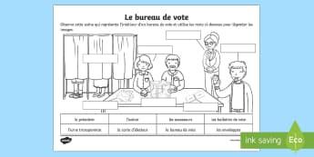 Feuille d'activités : Le bureau de vote - Les élections présidentielles, cycle 2, cycle 3, presidential elections, France, bureau de vote, p