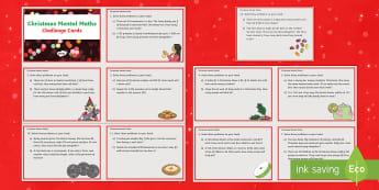 Australian Christmas Mental Maths Challenge Cards - Australia - math, mental math, challenge cards, flashcards, Christmas, problem solving, operations, calculations