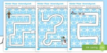Winter Pencil Control Path Worksheet / Activity Sheets English/German - EAL, German, winter, pencil control, pencil control worksheets, fine motor skills, fine motor worksh