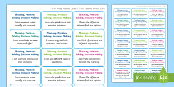 NI Thinking Skills and Personal Capabilities Thinking, Problem Solving, Decision Making Success Criteria Stickers - comments, targets, curriculum, marking, statements, Northern Ireland