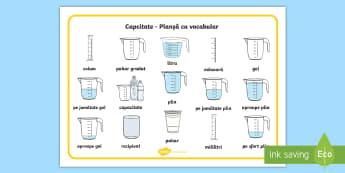Capacitatea Planșă cu vocabular - unități de măsură, măsoară, cm, m, km, lungime, mai mare, mai mic, compară, ordonează după