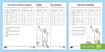 GAA Scores Data Handling Differentiated Worksheet / Activity Sheets - GAA, Football, Scores, Tally Chart, Counting, Addition, worksheet,