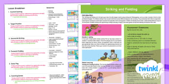 Twinkl Move - Year3 Striking and Fielding Unit Overview - PE, Physical Education, exercise, sports, Year 3, Y3, planning, plans, powerpoint, catching, throwin