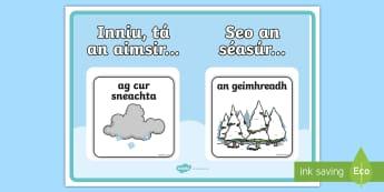 Weather and Season display Poster Gaeilge - Gaeilge, Irish, weather, aimsir, season, séasúr, calendar