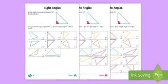 CfE 1st Level Right Angles Differentiated Worksheet / Activity Sheets - CfE Numeracy and Mathematics, shape, position, movement, angles, right angles, worksheet / activity sheet, ,Scot