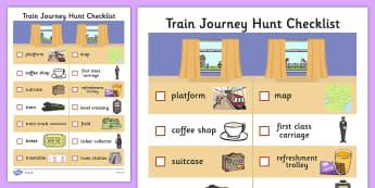 Train Journey Hunt Checklist - ESL Transport Resources