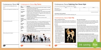 Contemporary Dance Activity Pack - dance, contemporary dance, ks3 dance, ks4 dance, btec dance, gcse dance,