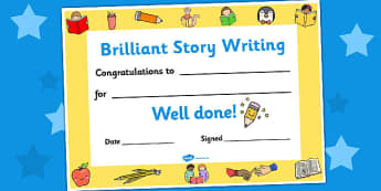 Brilliant Story Writing Certificates - writing certificates, story writing certificates, brilliant story certificates, brilliant story writing