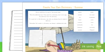 Summer Keywords Create Your Own Dictionary Activity - literacy, writing, dictionary, create your own, English, Scottish