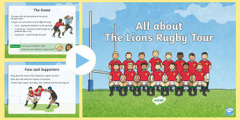 EYFS Lions Rugby Tour Information PowerPoint -  British and Irish Lions, Rugby Union, Team,New Zealand,Four Nations, Sporting Events, P.E.