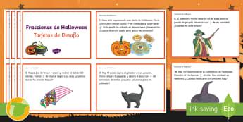 Tarjetas de desafío: Fracciones de Halloween - matemática, matemáticas, fracciones, Noche de Brujas, fracción,trivia