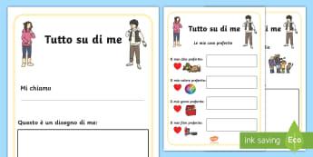 Tutto su di Me Opuscolo - tutto, su, di, me, opuscolo, intrduzione, presentazioni, italiano, italian, classe, materiale, scola