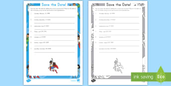 Save the Date! Punctuation Activity Sheet -  Punctuation, commas, Capitalization, Proper Nouns, Superheroes, worksheet, time, grammar