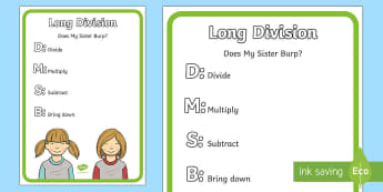 Long Division Display Poster - long division, strategy, operation, divide.