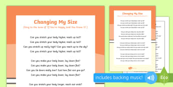 Changing My Size Song - singing, song time, height, big, small, wide, thin, measurement, shape, space and measure, movement