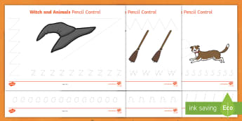 Witch and Animals Pencil Control Sheet - room on the broom, pencil control, themed pencil control sheets, room on the broom pencil control