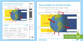 Day and Night Cut and Stick Activity Sheet - Cut and Stick, earth, day, night, day and night, rotation of the earth, Earth's rotation, earths ro