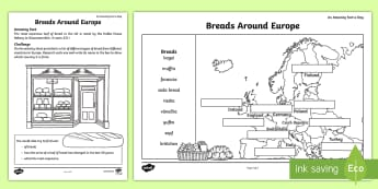 Breads around Europe Activity Sheet - Amazing Fact Of The Day, activity sheets, powerpoint, starter, worksheet, amazing fact a day april,