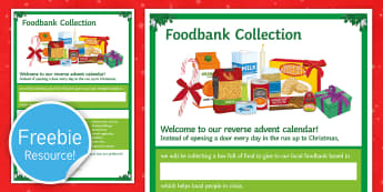 Foodbank Reverse Advent Calendar Display Poster  - Food Bank, foodbank, hunger, charity, volunteer, community, food parcels, crisis.