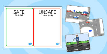 Crossing The Road Safe And Unsafe Sorting Cards Romanian Translation - road, safety, transport, vehicles, pshe