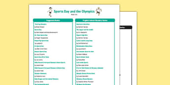 Sports Day and the Olympics Book List