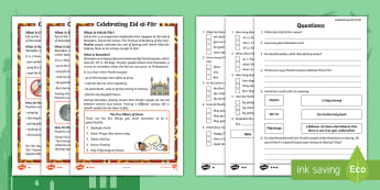 KS1 Eid al-Fitr Differentiated Reading Comprehension Activity - islam, muslim, festival, ramadan, fasting, qur'an, quran,