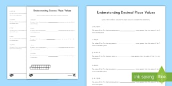 Understanding Decimal Place Values Activity Sheet - decimals, place value, value, multiplying by 10, dividing by 10