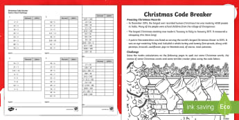 KS2 Christmas Code Breaker Differentiated Differentiated Activity Sheets - fractions, maths, christmas, xmas, multiplication, division, place value, times tables, square numbe