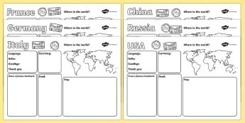 Worksheets - Countries