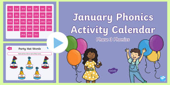 Phase 3 January Phonics Activity Calendar PowerPoint - Reading, Spelling, Game, Starter, Sounds