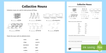Collective Nouns Worksheet / Activity Sheet - Collective Nouns, nouns, groups, grammar, worksheet,Irish