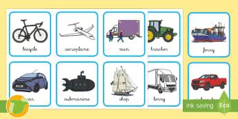 A1 Tarjetas de clasificar: Los transportes en inglés - transport, lengua extranjera, inglés, english, sort, ,Spanish-translation