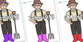 Months of the Year on Enormous Turnip Farmer - Months of the Year, Months poster, Months display, display, poster, frieze, Months, month, January, February, March, April, May, June, July, August, September